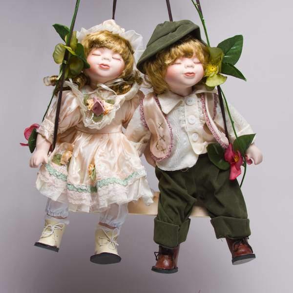 """Куклы парные """"Кай и Герда""""фарфоровые, 14"""" Polly Dolls YF-14199-200-G"""