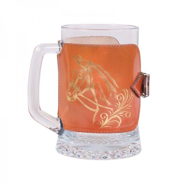 """Кружка для пива, 0,67л, в оплетке из натуральной кожи """"Оригинальная. Лошадка"""" Аксо СК02/Л"""