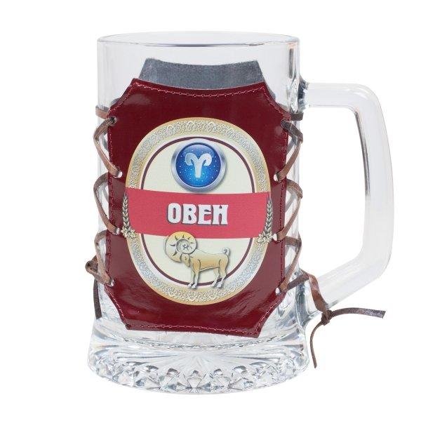 """Кружка для пива в оплетке из натуральной кожи """"Знаки зодиака"""" Аксо СК01-П-ЗЗ"""
