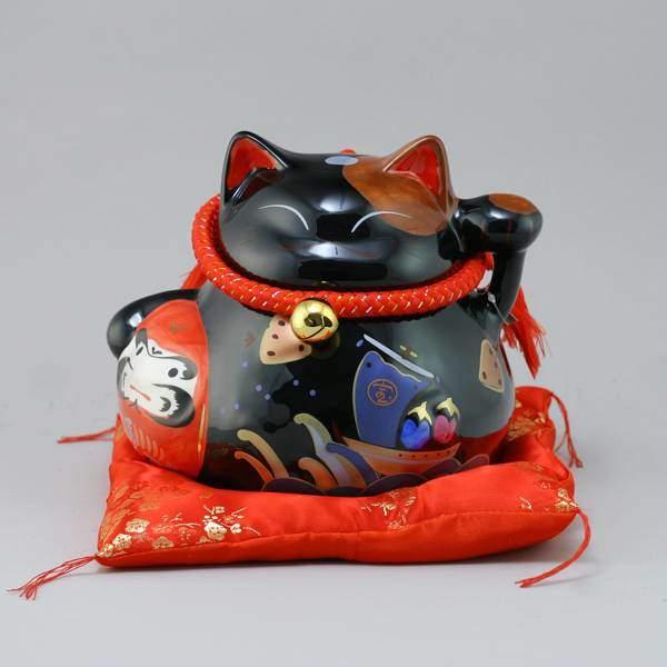 """Японский кот-копилка """"Долголетие, защита от зла и много посетителей!"""", черный Pak Lee YC-10785-A"""