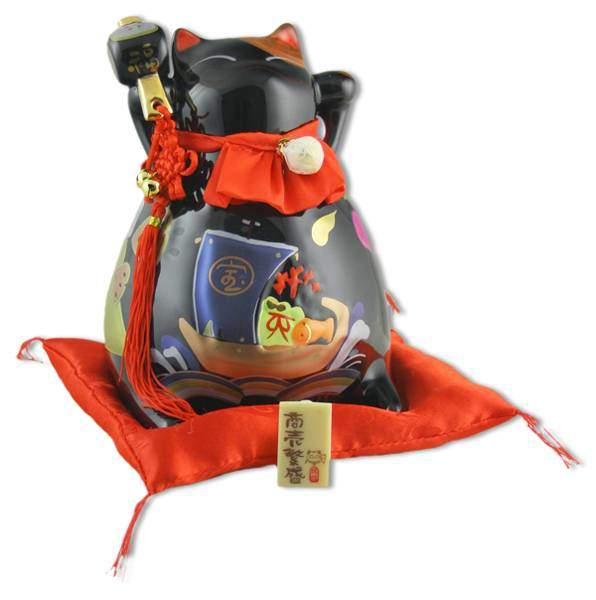 """Японский кот-копилка Манеки-неко """"Успех в бизнесе и Защита от зла!"""", черный Pak Lee YC-10111-A"""