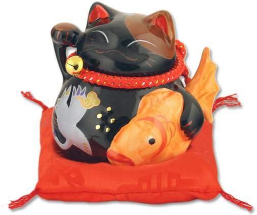 """""""Здоровья и Счастья!"""", Манеки-неко, черный кот-копилка Pak Lee YC-10269-A"""
