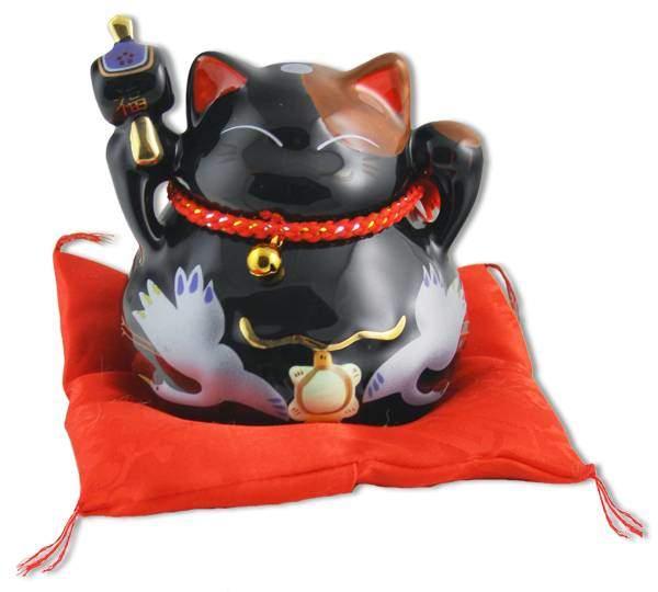 """Японский кот-копилка Манеки-неко """"Успех, Благосостояние и много клиентов, Защита от зла!"""", черный Pak Lee YC-10943-A"""