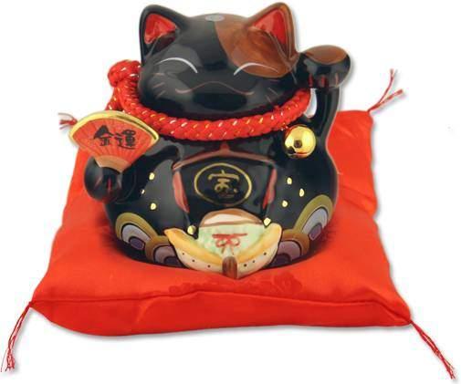 """Японский кот-копилка Манеки-неко """"Защита от зла и бум продаж!"""", черный Pak Lee YC-10270-A"""