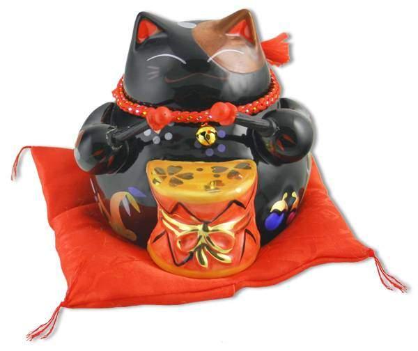 """Японский кот-копилка Манеки-неко """"Дом-Полная Чаша, Предотвращение несчастья!"""", черный Pak Lee YC-10944-A"""