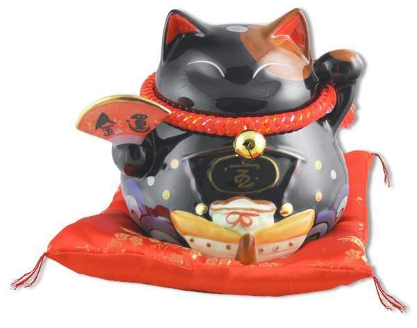 """Японский кот-копилка Манеки-неко """"Удача и много гостей, предотвращение бед!"""", черный Pak Lee YC-10304-A"""