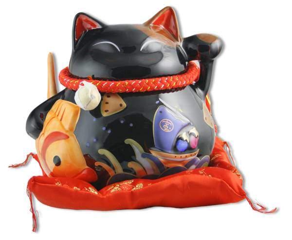 """Японский кот-копилка Манеки-неко """"Долголетие, защита от зла и много посетителей!"""", 21х23 см, черный Pak Lee YC-10305-A"""