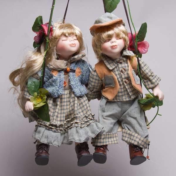 "Куклы парные ""Шура и Нюра"" фарфоровые, 14"" Polly Dolls YF-14195-196-G"