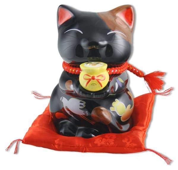 """Японский кот-копилка Манеки-неко """"Богатство и Успех, Защита от злых сил!"""" черный Pak Lee YC-10343-A"""