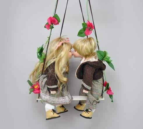 """Куклы парные """"Вилли и Полли"""" фарфоровые, 14"""" Polly Dolls YF-14165-166-G"""