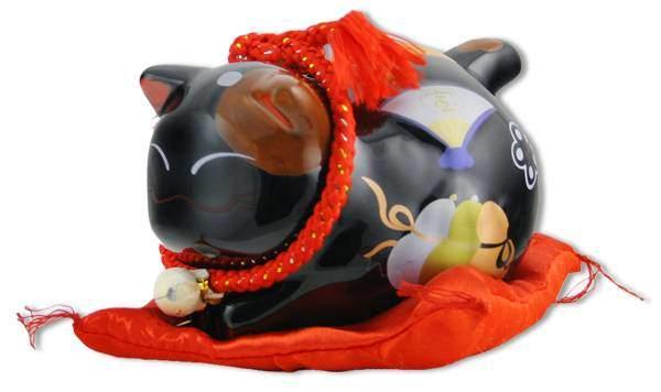 """Японский кот-копилка Манеки-неко """"Удача и защита от зла!"""", черный Pak Lee YC-10271-A"""