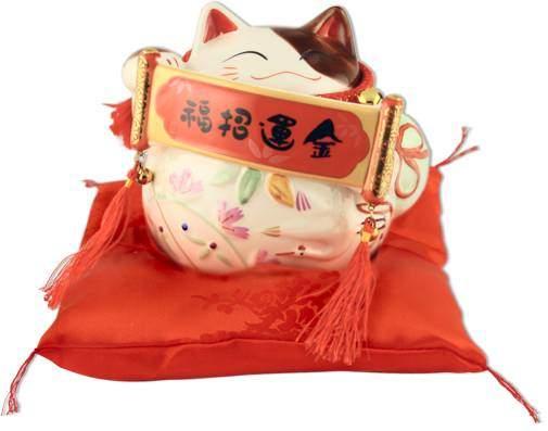 """Японский кот-копилка Манеки-неко """"Счастье!"""", белый Pak Lee YC-10287-A"""
