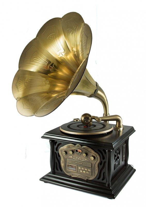 """Музыкальный центр-ретро """"Граммофон"""" с пультом: винил, AM/FM, CD, MP3, USB 35*40*85см A+B Kaito Enterprises 98822"""