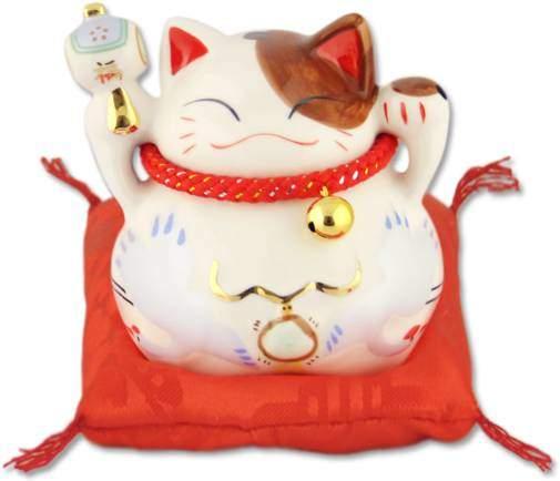 """Японский кот-копилка Манеки-неко """"Успех, Благосостояние и много клиентов!"""", белый Pak Lee YC-10511-A"""