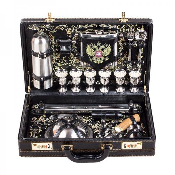 Подарочный набор для пикника «Люкс» (6 персон) с гербом Аксо 113КИ6-П