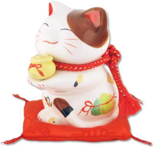 "Японский кот-копилка Манеки-неко ""Богатство и Успех!"", белый 16х11см Pak Lee YC-10593-A"