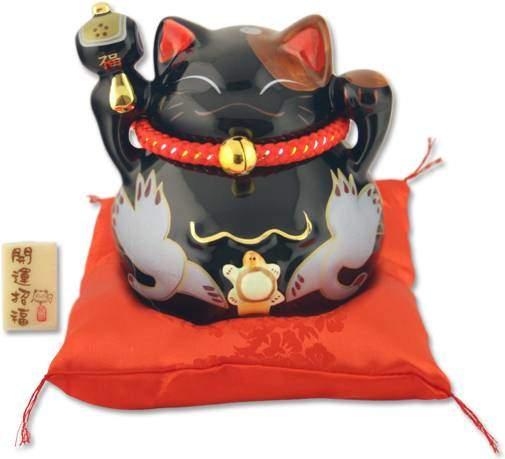 """Японский кот-копилка Манеки-неко """"Успех, много клиентов и Защита от злых сил!"""", черный Pak Lee YC-10272-A"""
