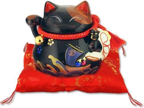 """Японский кот-копилка Манеки-неко """"Отличных продаж и защита от злых сил!"""", 21х23 см, черный Pak Lee YC-10303-A"""