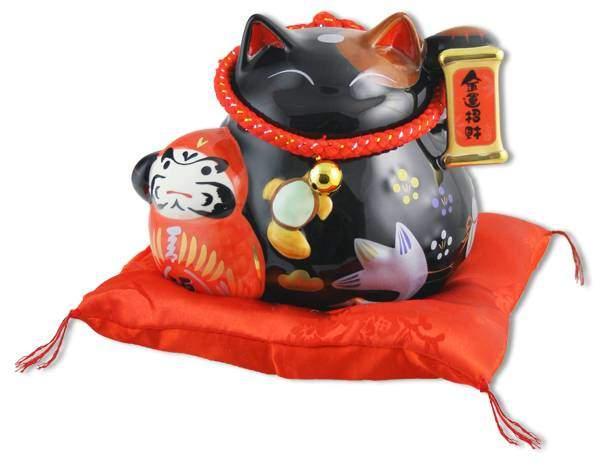 """Японский кот-копилка Манеки-неко """"Долголетие, защита от зла и много посетителей!"""", черный Pak Lee YC-10948-A"""