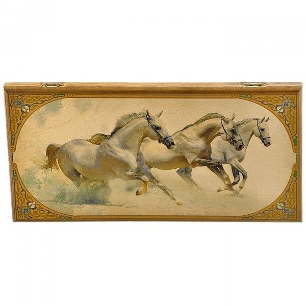 "Нарды ""Лошади"" в дер. коробе большие gifts SA-LI-L"