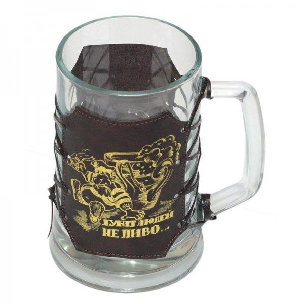 Кружка для пива, 0,67л, в оплетке из натуральной кожи Аксо СК01