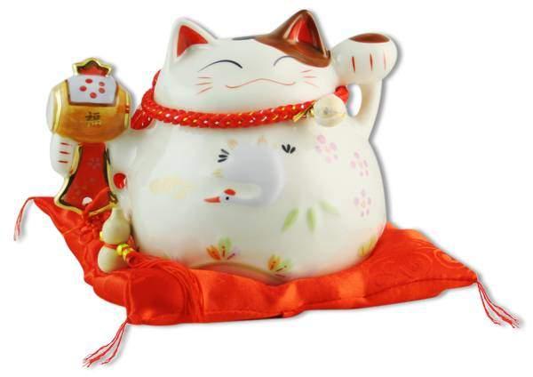 "Японский кот-копилка Манеки-неко ""Успех, благополучие и много клиентов!"", белый Pak Lee YC-10806-A"