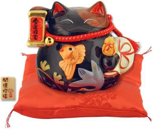 """Японский кот-копилка Манеки-неко """"Бум продаж и Защита от зла"""", черный Pak Lee YC-10949-A"""