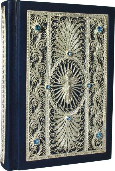 """Книга """"Библия с комментариями"""" подарочное издание в кожаном переплете с • топазами livegifts 022(ф)"""
