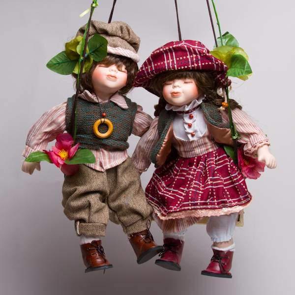 """Куклы парные фарфоровые """"Сид и Нэнси"""", 14"""" Polly Dolls YF-14197-198-G"""